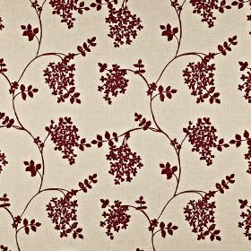 Honiton - Chianti - Wine and pale grey coloured simple leaves and wavy lines on fabric blended from cotton, linen, viscose and polyester