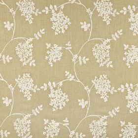Honiton - Willow - Cotton, linen, viscose and polyester blend fabric in beige, printed with simple leaves and wavy lines in very pale grey