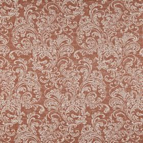 Ivybridge - Paprika - Ornate grey-white filigree patterns printed on a terracotta coloured polyester, cotton and linen blend fabric backgrou