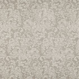 Ivybridge - Linen - Two different shades of grey making up an ornate filigree pattern on fabric blended from polyester, cotton and linen