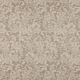 Ivybridge - Oatmeal - Fabric made from grey-brown polyester, cotton and linen, patterned with very pale grey coloured ornate filigree design
