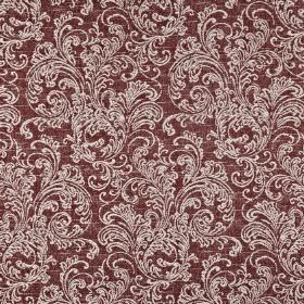 Ivybridge - Chianti - Blood red coloured polyester, cotton and linen blend fabric printed with a white pattern of ornate filigree designs