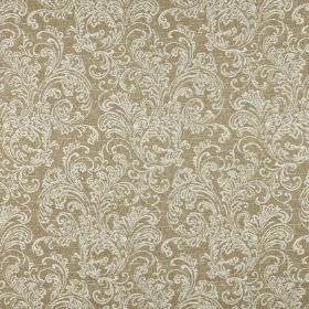 Ivybridge - Willow - Very pale grey-white ornate filigree designs printed on cement grey coloured polyester, cotton and linen blend fabric
