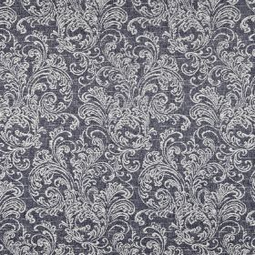 Ivybridge - Denim - Midnight blue and white fabric blended from polyester, cotton and linen, printed with ornate filigree designs
