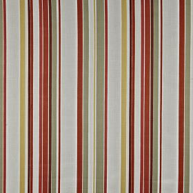 Sidmouth - Paprika - Off-white, steel grey, gold and burgundy coloured stripes running vertically down 100% cotton fabric