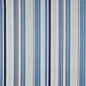 Sidmouth - Coastal - Fabric made from vertically striped 100% cotton in light grey and several different bright shades of blue