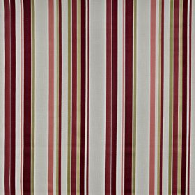 Sidmouth - Chianti - 100% cotton fabric with a vertical stripe design in light grey, olive green, dusky pink, white, cream, maroon and plum
