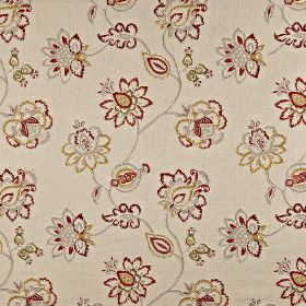 Tiverton - Paprika - Ornate burgundy, green-gold and grey flowers patterning putty coloured cotton, linen, viscose and polyester blend fabri