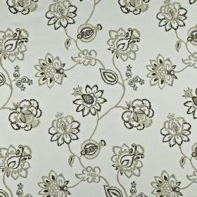 Tiverton - Parchment - Cotton, linen, viscose and polyester blend fabric patterned with ornate flowers & leaves in various light shades of g