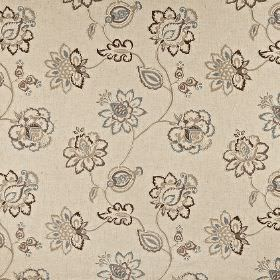 Tiverton - Sable - Creamy grey fabric made from cotton, linen, viscose and polyester, with an ornate floral pattern in darker grey tones