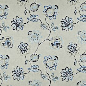 Tiverton - Coastal - Navy, baby blue and pale grey ornate floral patterns on light grey cotton, linen, viscose and polyester blend fabric