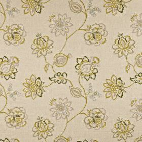 Tiverton - Willow - Fabric made from grey-beige cotton, linen, viscose and polyester, with olive green and pale grey ornate floral patterns