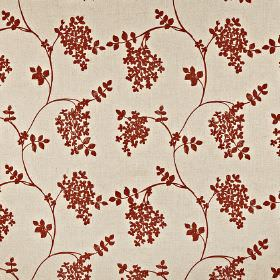 Honiton - Paprika - Small blood red coloured leaves and wavy lines printed on cream coloured cotton, linen, viscose and polyester blend fabric