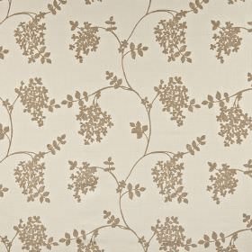 Honiton - Natural - Stone coloured cotton, linen, viscose and polyester blend fabric printed with small brown-grey leaves and wavy lines