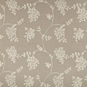 Honiton - Linen - Leaf and wavy line print cotton, linen, viscose & polyester blend fabric with a pale grey design on a darker background