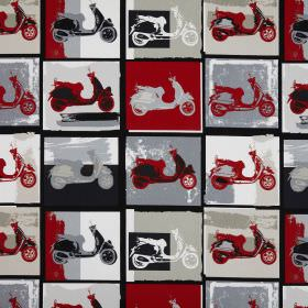 Scooter - Vino - Cotton fabric printed with a repeated design of scooters in a red, black, white, beige and grey pop art style