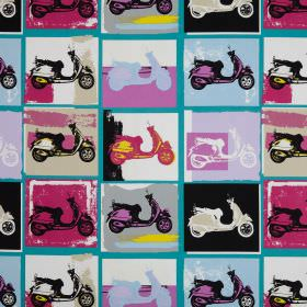 Scooter - Bella - Scooters printed in a repeated pop art style on cotton fabric, in pink, lilac, beige, turquoise, white, black and blue