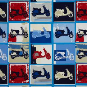 Scooter - Mod - Red, black, beige, white and different shades of blue making up a repeated pop art style scooter pattern on cotton fabric