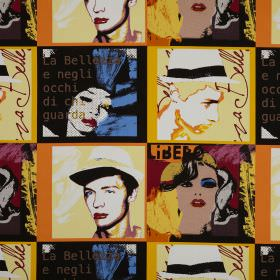 Diva - Limoncello - Cotton fabric printed with a pop art style pattern of faces and text
