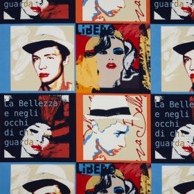 Diva - Metropolitan - Faces and text printed in a brightly coloured pop art style on cotton fabric