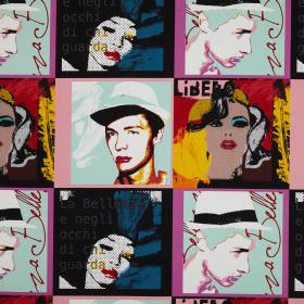 Diva - Jazz - Pop art style cotton fabric in bright colours, with faces and text