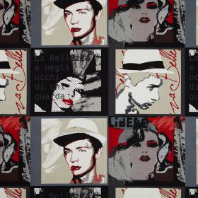 Diva - Vino - Black, grey, white, beige and red coloured cotton fabric printed with faces and text in a pop art style
