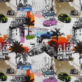 Rimini - Metropolitan - Cotton fabric with a collage of stairs, cars, trees, domes and buildings in white, grey, beige, blue, green and oran