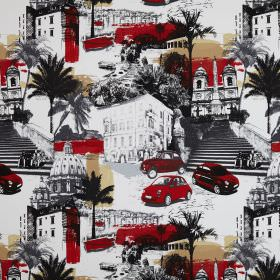 Rimini - Sunset - Red, beige, grey, black and white stairs, cars, trees and buildings printed as a collage on cotton fabric