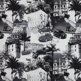 Rimini - Graphic - A collage of buildings, cars, trees, gardens and stairs printed in different shades of grey on fabric made from cotton