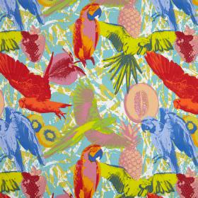 Martinique - Tropical - Realistic images of parrots and strawberries printed in a multicoloured pop art style on busily patterned cotton fab