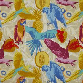 Martinique - Paradise - Fabric made from cotton, with a busy pattern of parrots and strawberries, all in a multicoloured, pop art style