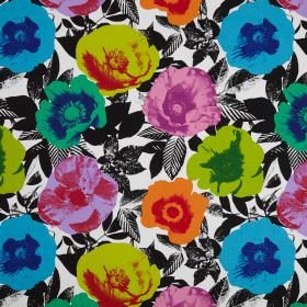 Madone - Tropical - Black and white patterned cotton fabric patterned with large, multicoloured, pop art style poppies