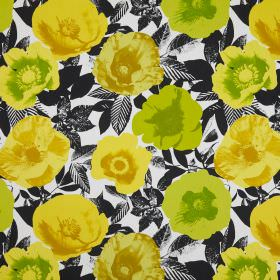 Madone - Citrus - Cotton fabric with a pattern in white and charcoal colours, printed with pop art style poppies in greens and yellows