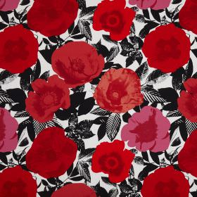 Madone - Poppy - Bright red poppies printed on cotton fabric which has a monochrome black and white pattern