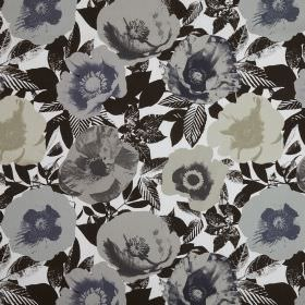 Madone - Marble - Flowers printed using a simple pop art style technique in shades of grey on dark brown and white patterned cotton fabric