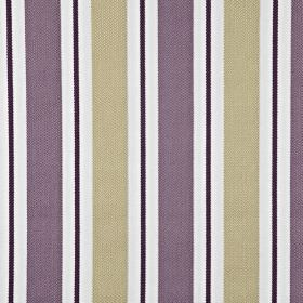 Canford - Mulberry - 100% cotton fabric featuring a regular pattern of beige, black, white and dusky purple vertical stripes