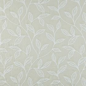 Ferndown - Limestone - White and very pale grey coloured 100% cotton fabric featuring an elegant embroidered leaf design