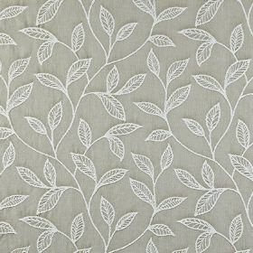 Ferndown - Stone - Fabric made from 100% cotton in light grey, patterned with an elegant design of simple, embroidered white leaves