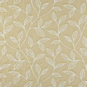 Ferndown - Jonquil - Leaf patterned fabric made from 100% cotton, made in warm cream and white, with a simple, embroidered design