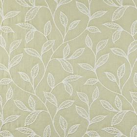 Ferndown - Willow - Elegant white leaves embroidered on a putty coloured 100% cotton fabric background