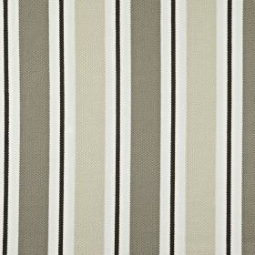 Canford - Hessian - Vertically striped 100% cotton fabric, featuring a design in white, black and two different shades of grey