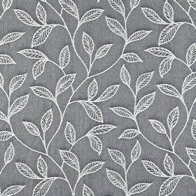 Ferndown - Denim - Plain dark blue-grey 100% cotton fabric behind an embroidered design of elegant white leaves