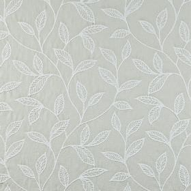 Ferndown - Silver - 100% cotton fabric featuring an elegant embroidered leaf design in two very pale, similar shades of grey