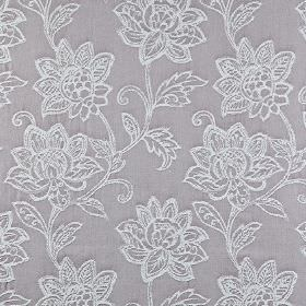 Wimborne - Mulberry - Elegant, ornate white florals embroidered over a mid-grey 100% cotton fabric background