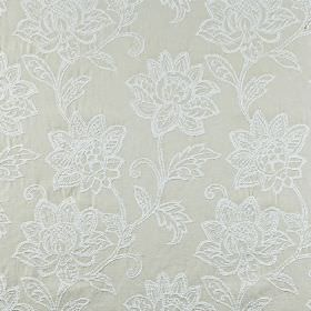 Wimborne - Limestone - Embroidered fabric made from 100% cotton in two very similar pale shades of grey, featuring an ornate floral pattern