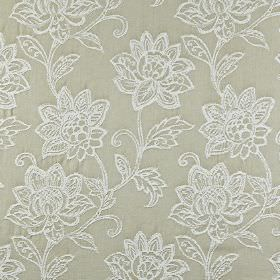 Wimborne - Hessian - Fabric made from light stone coloured 100% cotton, embroidered with a pretty, ornate pattern of florals in white