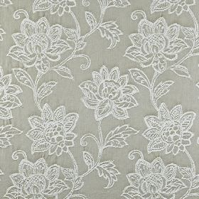 Wimborne - Stone - White and silver-grey coloured fabric made from 100% cotton, featuring an embroidered ornate floral pattern