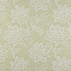 Wimborne - Willow - 100% cotton fabric in cream-beige, behind an embroidered, ornate floral pattern in white