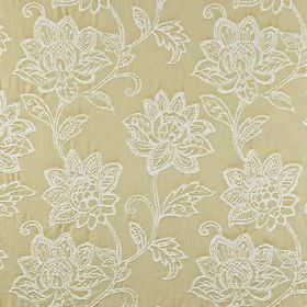 Wimborne - Jonquil - Embroidered white florals creating an ornate pattern on a warm cream coloured 100% cotton fabric background
