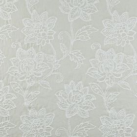 Wimborne - Silver - Ornate floral patterns created in a white embroidered design over 100% cotton fabric in a very pale shade of grey